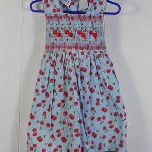 Girl's Blueberi Boulevard Smocked Cherry Dress 3T